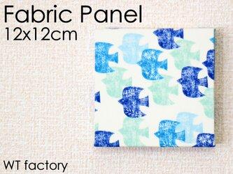 12x12cmちいさなファブリックパネル【青い渡り鳥のファブリックパネル】ブルーの画像