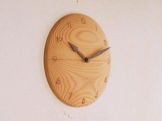 木製 掛け時計 丸 松材1の画像