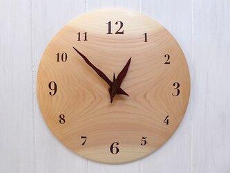 ヒノキ 30㎝ 曲面時計euph 021s 文字盤茶色の画像