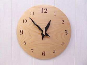 ヒノキ 26㎝ 曲面時計euph 007s 文字盤茶色の画像