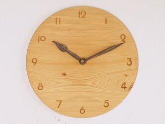 木製 掛け時計 丸 ヒノキ材5の画像