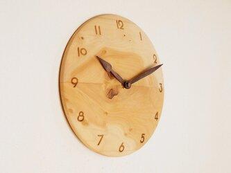 木製 掛け時計 丸 シナ材2の画像