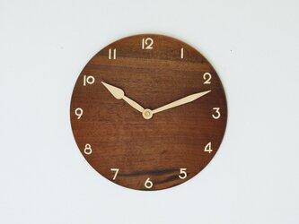 木製 掛け時計 丸 ブラックウォールナット材18の画像