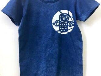 藍染Tシャツ・メンフクロウの画像
