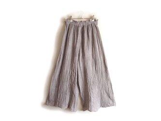 【黒土・べんがら染め】スカートみたいなワイドパンツ◆医療用ガーゼ服の画像