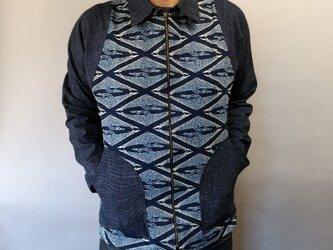 吉兆藍木綿ZIPジャケット(菱形鶴紋様×織生地)の画像