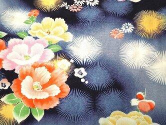 m0014 椿紋様子供着物ハギレ☆古布・古裂/絞り/錦紗縮緬の画像