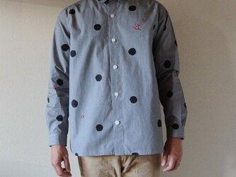 メンズ・ギンガムチェックシャツ <水玉と梅> の画像