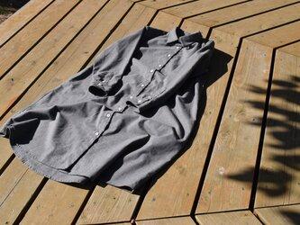 ¥3,000-OFF 黒板 wool/cotton  shirt  onepiece シャツワンピースの画像