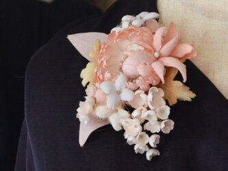 *染の草花*パステルの花(ピンク)ヘアクリップ付きコサージュの画像