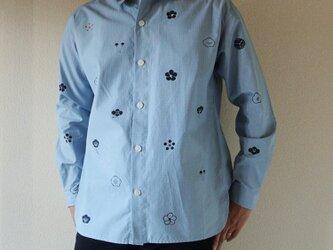 メンズ・ギンガムチェックシャツ水色 <梅家紋>の画像