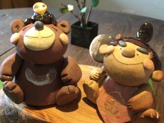 【五月飾り・端午の節句】金太郎とクマさん 陶器 の画像