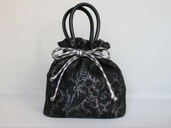 袴 着物バッグ ブラック×シルバー 牛革使用巾着の画像