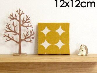 12x12cmちいさなファブリックパネル【黄色のまるのファブリックパネル】黄色/イエロー/麻生地の画像