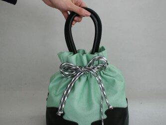 袴 着物バッグ ミントグリーン×ブラック 牛革使用巾着の画像