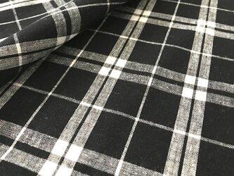 【生地】チェック 黒×白 綿 レーヨンの画像