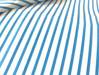 【生地】イングランド製 Thomas Mason ストライプ 白×青 綿の画像