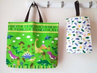 Wフェイスの恐竜 通園・ 通学バッグセット ◆グリーンの画像
