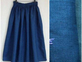 育てるリネン(ブルー) ロングスカートの画像