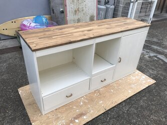 hotaru 新商品 キャビネット キッチンカウンター 棚 キッチンボード オーダー可 天然木 無垢材の画像