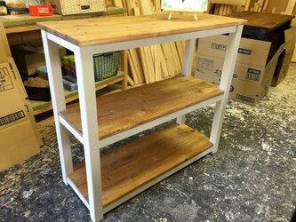 hotaru キャビネット 棚 キッチン カントリー 店舗 作業台 天然木 無垢材 オーダー可の画像