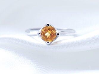 SV925 シトリン 大粒 リング 指輪 天然石の画像