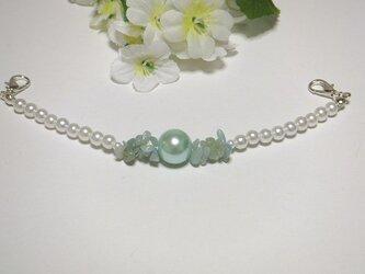 羽織紐◆天然石さざれアマゾナイト/ホワイトパールと大玉グリーンの画像