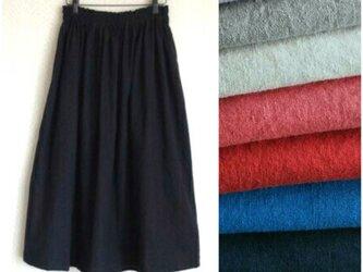 リネンcotton(ブラック)綿麻ワッシャー・ロングスカートの画像