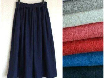 リネンcotton(ネイビー)綿麻ワッシャー・ロングスカートの画像