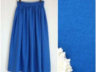 リネンcotton(ブルー)綿麻ワッシャー・ロングスカートの画像