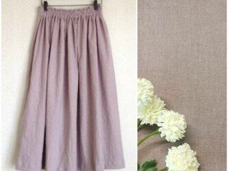 リネンcotton(グレイッシュピンク)綿麻ワッシャー・ロングスカートの画像