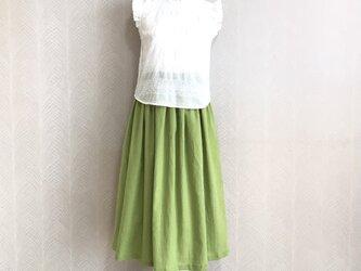 リネンcotton(リーフグリーン)綿麻ワッシャー・ロングスカートの画像