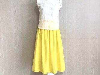 リネンcotton(レモン)綿麻ワッシャー・ロングスカートの画像