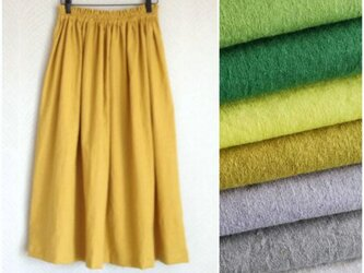 リネンcotton(マスタード)綿麻ワッシャー・ロングスカートの画像