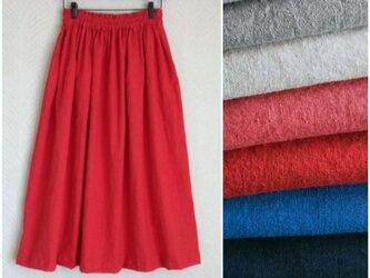 リネンcotton(レッド)綿麻ワッシャー・ロングスカートの画像