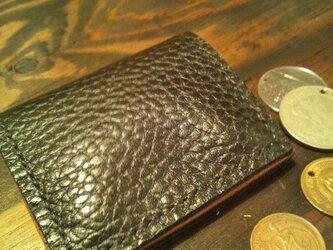 シンプルで使いやすい背面にポケット付きの小銭入れ☆BKの画像