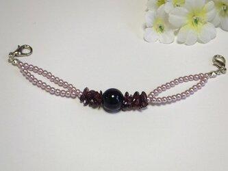 女性用羽織紐◆2連・ローズピンクと天然石さざれガーネットの画像