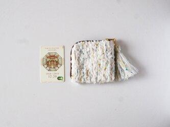 marshmallow mint noriko tweed  カードポーチ 手織り コスメ コイン の画像
