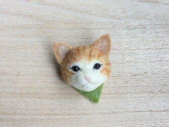 ウールの子猫ブローチ ( オレンジ )の画像