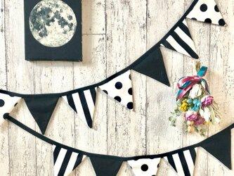 星月猫★小さなモノクロガーランド 飾り部分50センチから10センチ単位のオーダーが可能です。 の画像