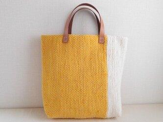 裂き織りバッグ 黄+生成の画像
