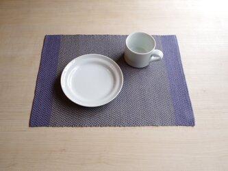 手織りリネンランチョンマット ブルーの画像