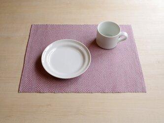 手織りリネンランチョンマット ピンク×グレーの画像