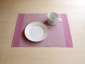 手織りリネンランチョンマット ピンクの画像