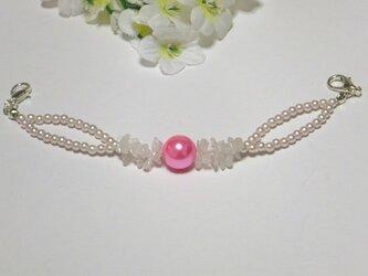 女性羽織紐◆天然石さざれローズクォーツとぴゅあピンクの画像