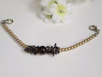女性羽織紐◆天然石さざれスモーキークォーツと大人ゴールドの画像