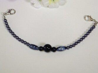 女性羽織紐◆スリム 濃紺・マーブルブルー・黒18㎝ロングサイズの画像