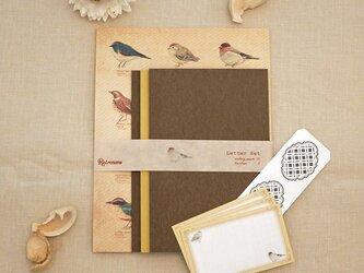 野鳥の図鑑風レターセットの画像