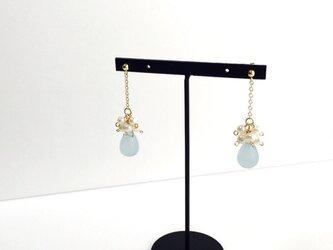 【 14kgf 】淡水真珠 フラワー パール ブーケ ピアス 〈 スカイブルー 水色 〉の画像
