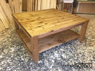 hotaru ローテーブル 四角 正方形 和室 ちゃぶ台 アジアン風 棚付 オーダー可 天然木 無垢材の画像